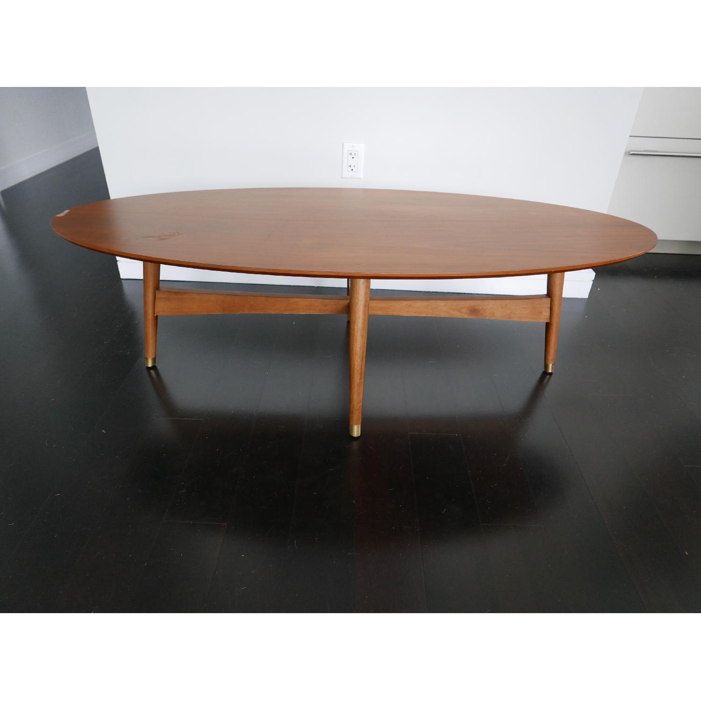 West Elm Reeve Mid-Century Oval Coffee Table in Pecan-0