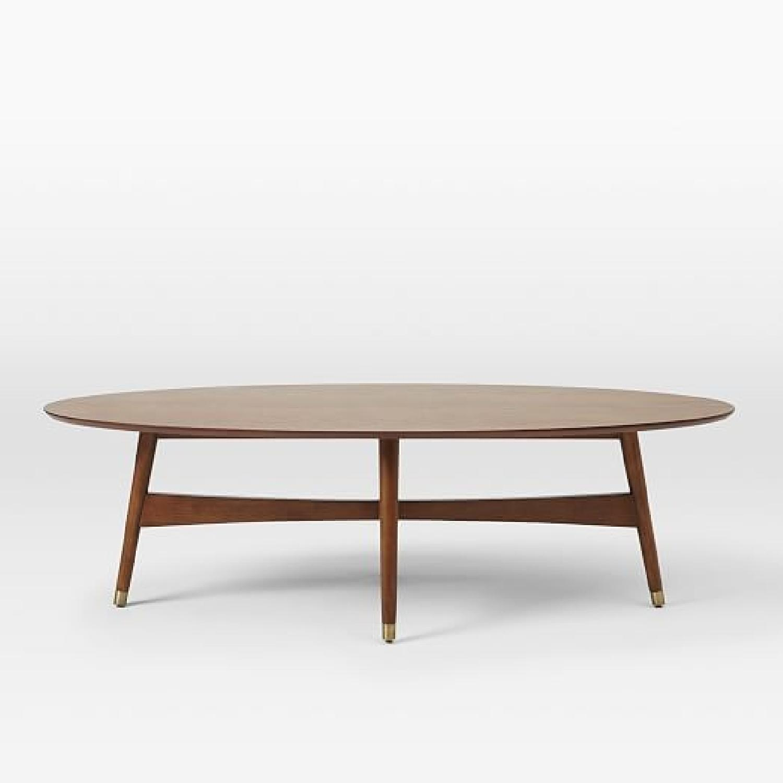 West Elm Reeve Mid-Century Oval Coffee Table in Pecan