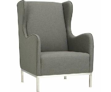 CB2 Wingback Study Chair in Oyster Grey
