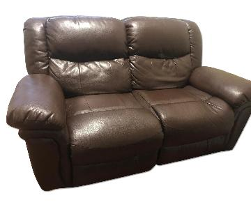 Brown Leather Recliner Loveseat