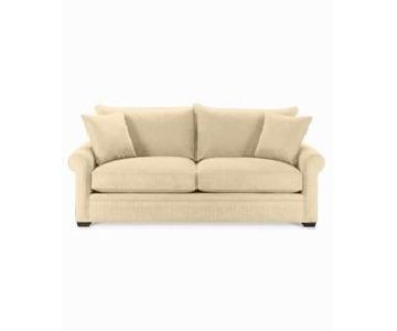 Macy's Beige Suede 2-Seater Sofa w/ Throw Pillows