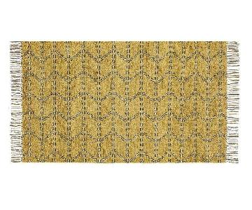 CB2 Kelso Hand Knotted Yellow Shag Rug