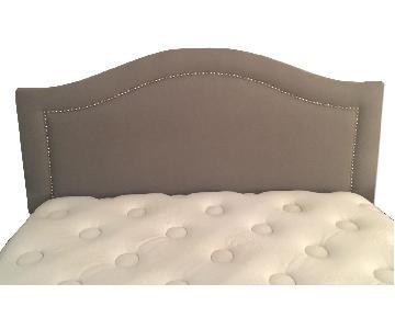 One Kings Lane Full Size Bed Frame w/ Grey Fabric Headboard