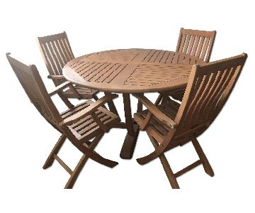 Teak Outdoor Indoor Dining Table w/ 4 Chairs