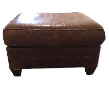 Leather Ottomon in Chestnut Color