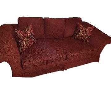 Red Upholstered Sofa