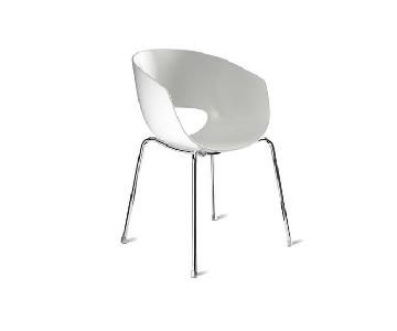 CB2 Orbit white Arm Chairs