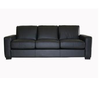 Baxton Studio Portola Black Leather Sofa + Loveseat Set