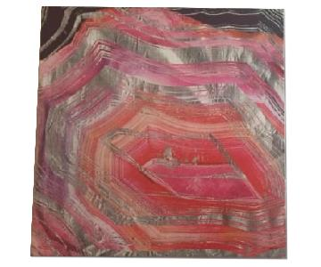 Oliver Gal Red/PinkSilver Geode Print on Stretched Canvas
