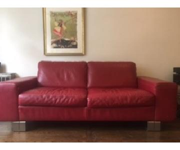 Natuzzi Red Leather Sofa