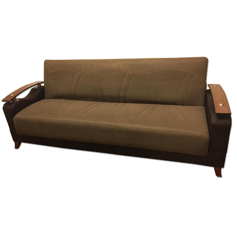 El Dorado Furniture Peron Leather U0026 Wood Finish Sleeper Sofa W/ Storage ...