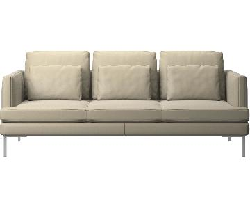 BoConcept Iskra Leather Sofa w/ 6 Pillows