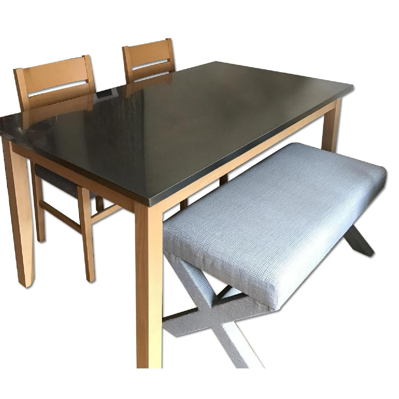 crate u0026 barrel dining table w 2 chairs 1 west elm aptdeco