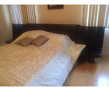 Italian Espresso Queen Bed w/ Storage + 6 Drawer Dresser