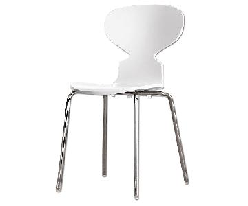 Restoration Hardware White Finish Wood & Chrome Dining Chair