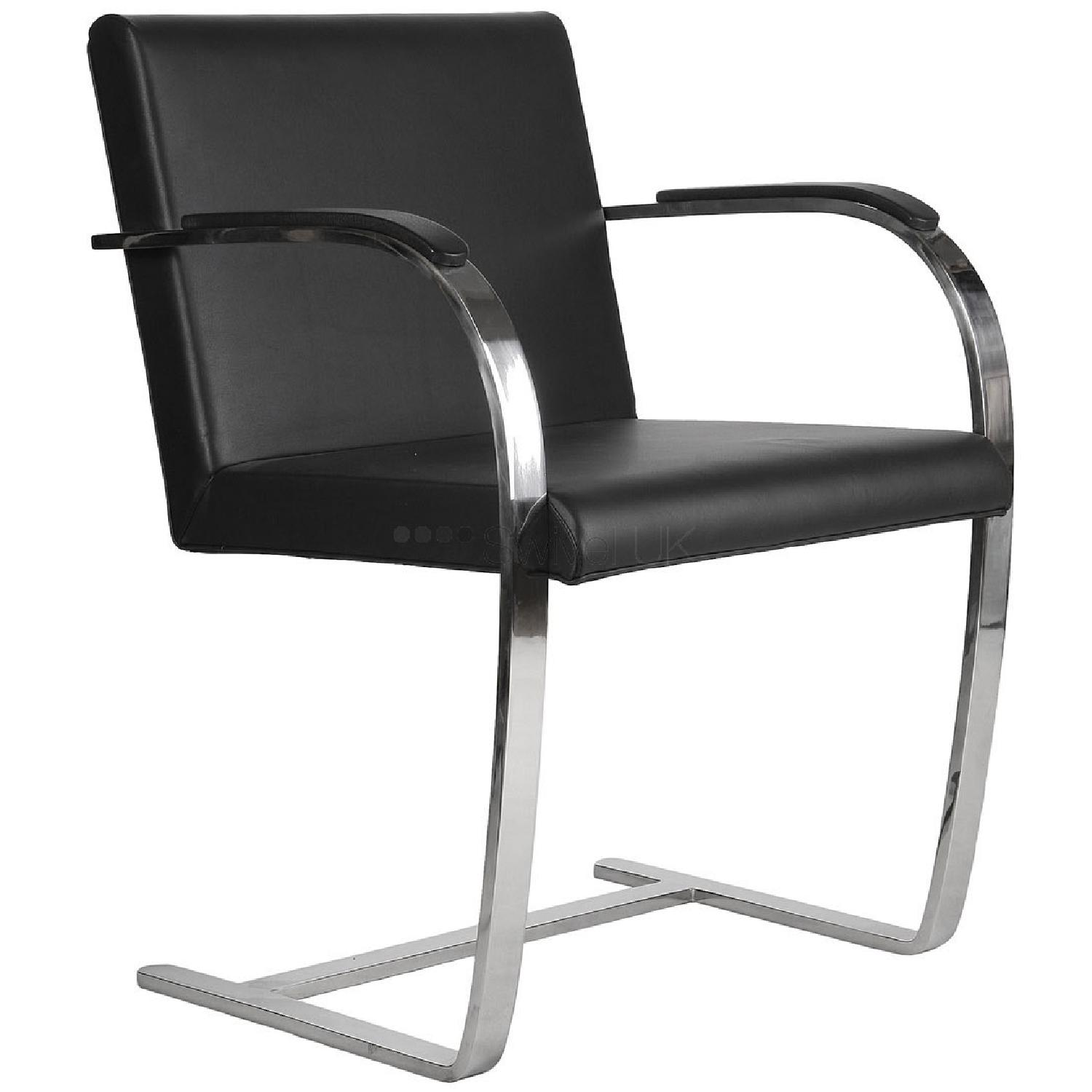 Knoll Leather Flat Bar Brno Chair by Mies Van Der Rohe AptDeco