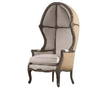Restoration Hardware Versailles Burlap-Backed Chair w/ Pillo