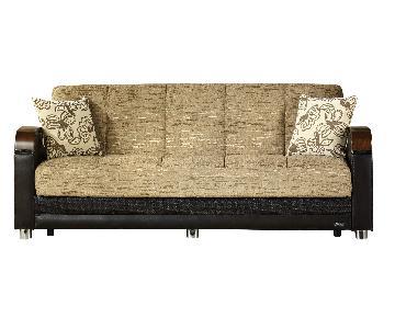 Istikbal Furniture Luna Gold & Brown Sleeper Sofa & Pillows