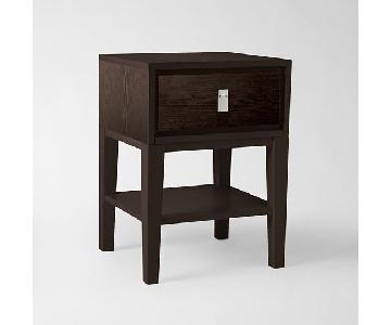 West Elm 1 Drawer & Shelf Side Table in Chocolate
