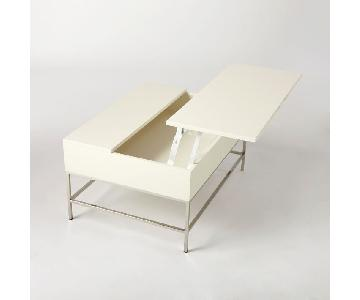 West Elm White Lacquer Storage Coffee Table