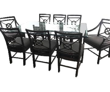 McGuire Bamboo Dining Table w/ 8 Chairs + 4 Bar Stools