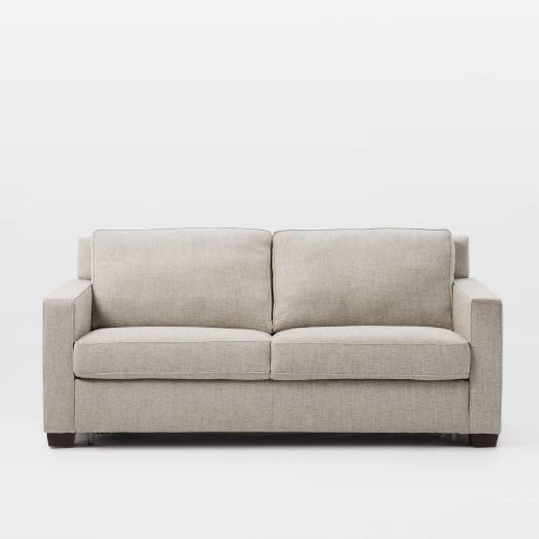 West Elm Henry Twill Gravel Full Sleeper Sofa AptDeco