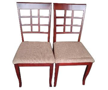 Solid Wood Dining Chairs w/ Tan Cushion