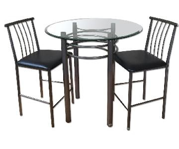 Glass Bar Table w/ 2 Chairs