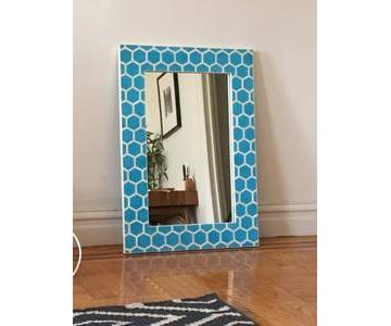 West Elm Bone Inlaid Turquoise Wall Mirror