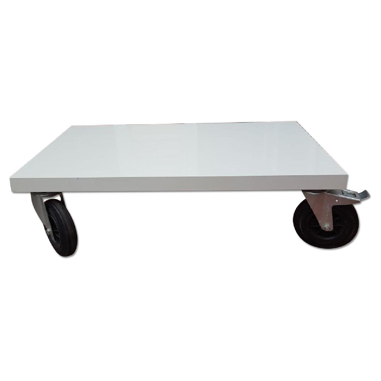 BoConcept White Coffee Table on Wheels AptDeco