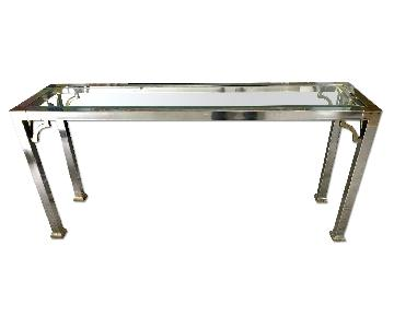 Maison Jansen Furniture Mid Century Chrome & Glass Console Table