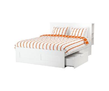 Ikea Brimnes White Storage Bed Frame & Headboard Storage w/