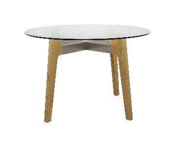 CB2 Round Dining Table w/ Glass Top