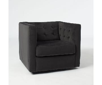 West Elm Rochester Swivel Arm Chair in Performance Velvet