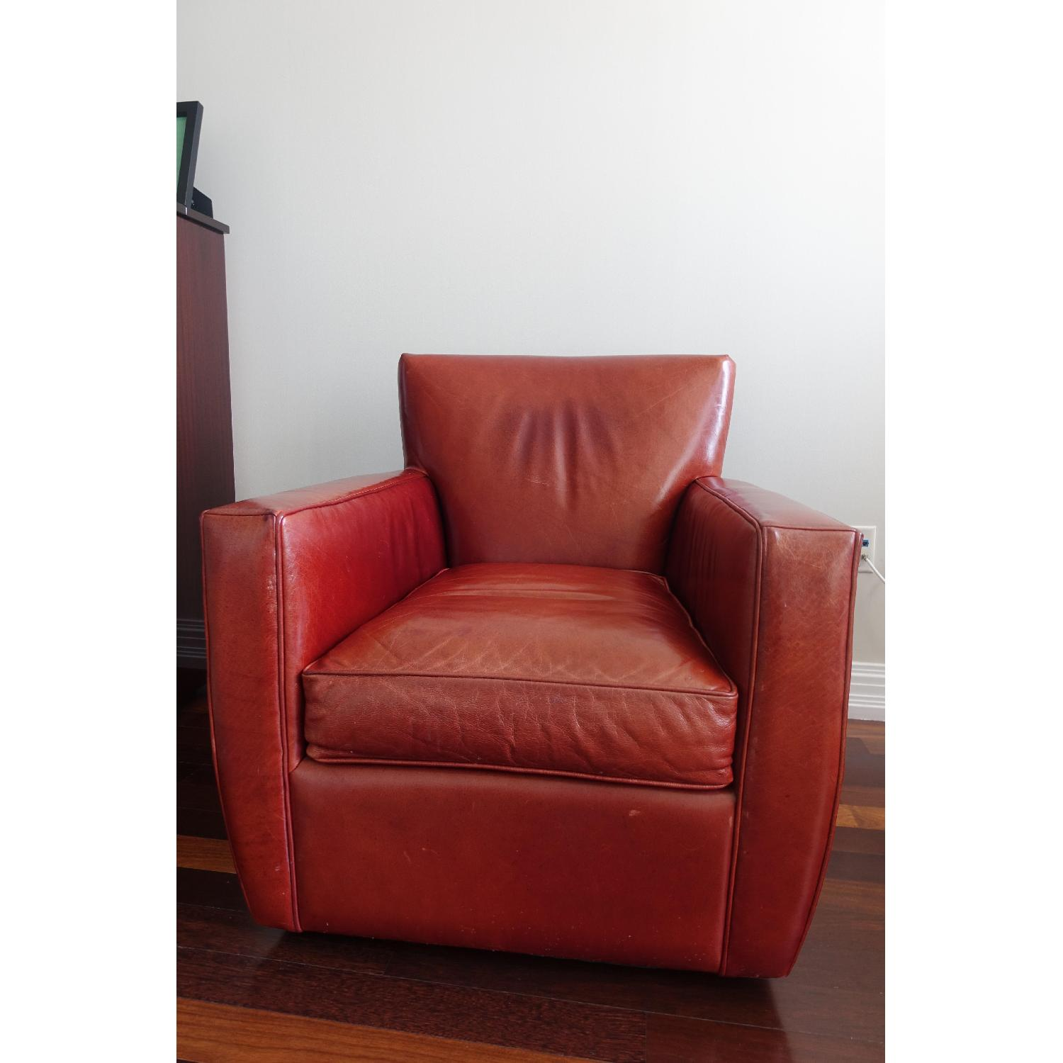 Picture of: Crate Barrel Red Leather Swivel Armchair Aptdeco