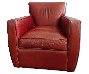 Crate & Barrel Red Leather Swivel Armchair