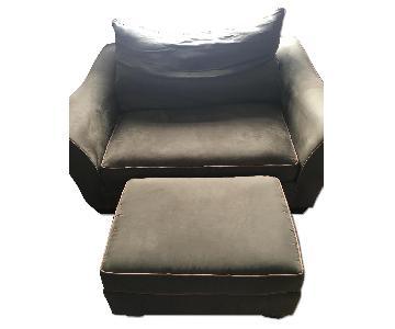 Raymour & Flaningan Chair and a Half & Ottoman