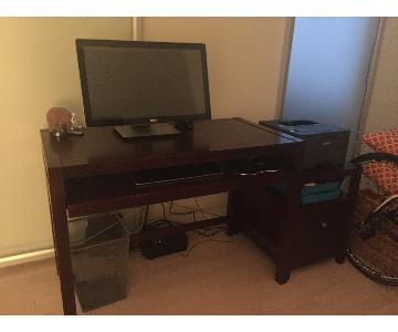 Wood Office Desk + Filing Cabinet