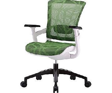 Staples Skate Herbal Green Mesh Ergonomic Chair w/ White Fra