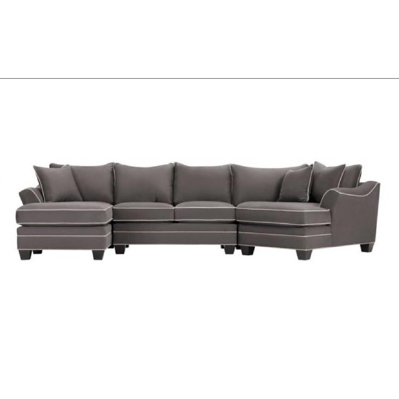 Sherrill Furniture Green Sectional Sofa AptDeco