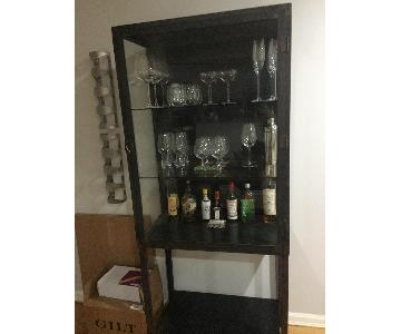 Vintage Bar Cabinet w/ Shelving Unit