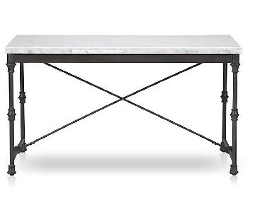 Crate & Barrel Marble Table w/ Iron frame