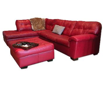 3-Piece Red L-Shaped Sectional Sofa