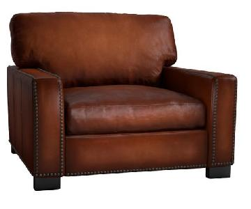 Pottery Barn Turner Square Arm Leather Grand Armchair