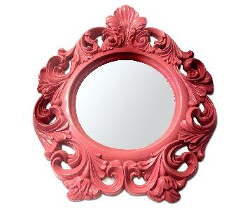 Resin lacquer scroll hot pink Victorian modern round mirror
