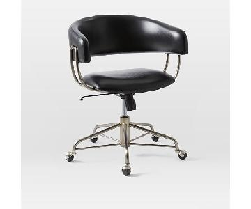 West Elm Halifax Black Leather Office Chair