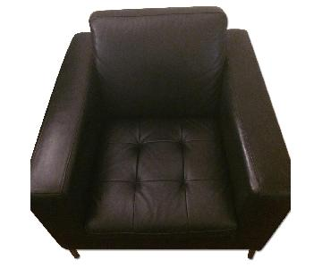 Natuzzi Black Leather Arm Chair
