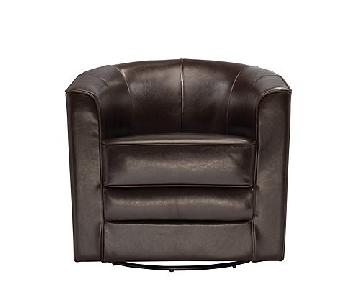 Raymour & Flanigan Conrad Leather Swivel Chair
