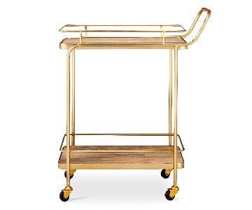 Target Threshold Metal Wood & Leather Bar Cart in Gold