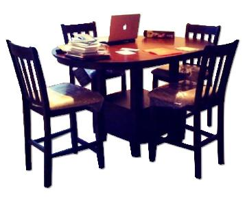 Ashley Furniture Wooden Counter-Top Table w/ Leaf & 4 Chairs